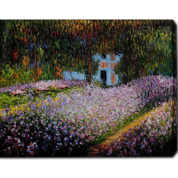 Claude Monet 'Artists Garden at Giverny' Oil on Canvas Art