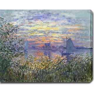 Claude Monet 'Sunset on the Siene' Oil on Canvas Art