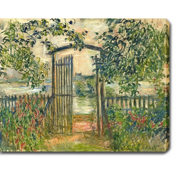 Claude Monet 'The Garden Gate at Vetheuil' Oil on Canvas Art
