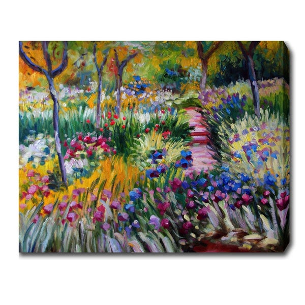 Claude Monet 'Iris Garden by Giverny' Oil on Canvas Art