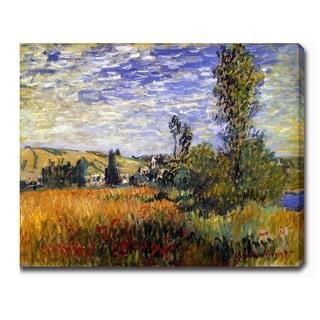 Claude Monet 'Landscape at Vetheuil' Oil on Canvas Art