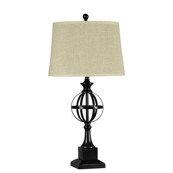 Illuminada 3-way Metal Table Lamp with Beige Fabric Drum Shade