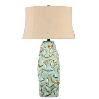 Illuminada 3-way Blue Ceramic Table Lamp with Beige Hardback Shade
