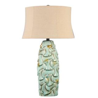 Illuminada 3-way Blue Ceramic Table Lamp with Beige Hardback Shade
