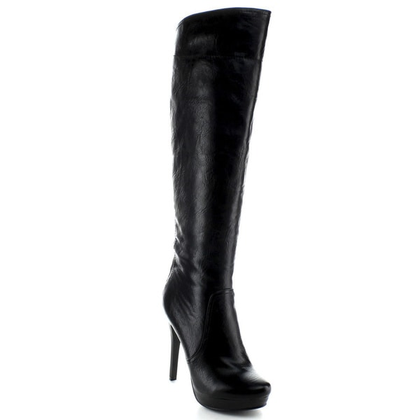 Italina Women's Black Knee-high Stiletto Boots