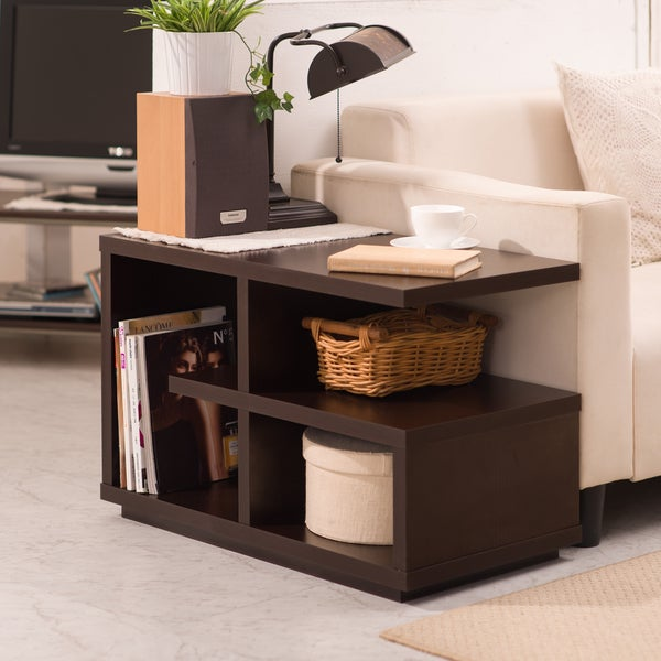 Furniture of america euclidor modern walnut end table for C tables for living room