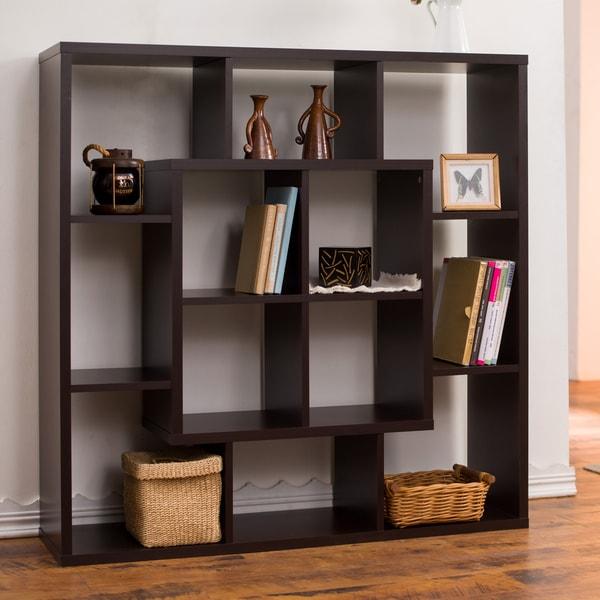 Furniture of america aydan modern square walnut bookshelf for Furniture of america nara contemporary 6 shelf tiered open bookcase