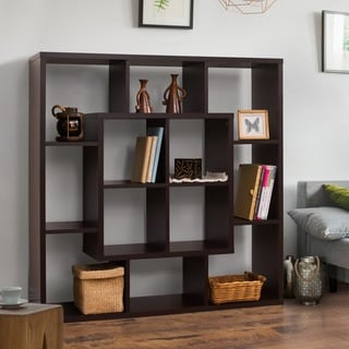 Furniture of America Aydan Modern Square Walnut Bookshelf/Room Divider