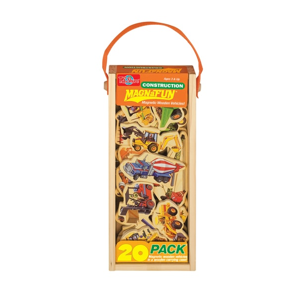 Construction Vehicles Wooden 20-Piece MagnaFun Set