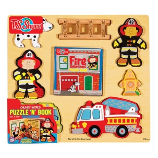 Chunky World Fire Department Wooden Puzzle and Book