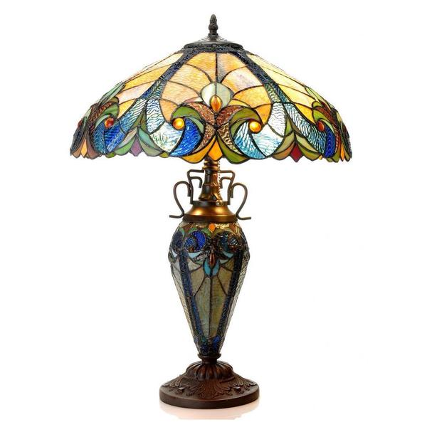 Tiffany-style Dark Bronze Victorian Design Double Lit 2 and 1 light Table Lamp