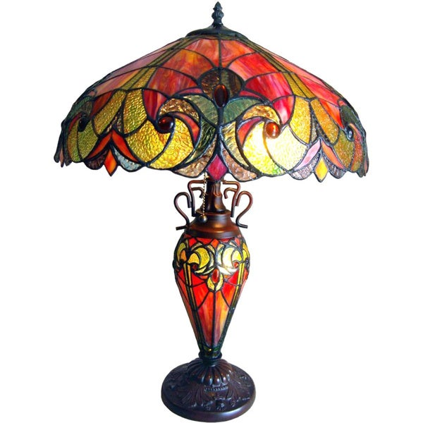 Tiffany-style Victorian Dark Bronze Double Lit 2 and 1 Light Table Lamp