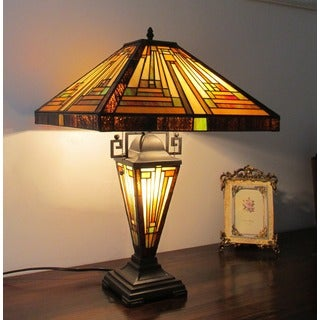 Tiffany-style Mission Dark Bronze Double Lit Table Lamp