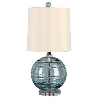 Illuminada 3-way Blue Glass Table Lamp with White Drum Shade