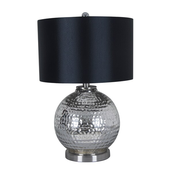 illuminada 3 way mercury glass table lamp with black drum shade. Black Bedroom Furniture Sets. Home Design Ideas
