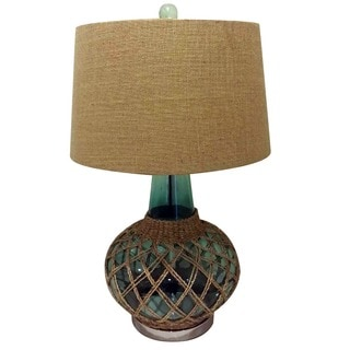 Illuminada 3-way Green Glass Table Lamp with Burlap Drum Shade