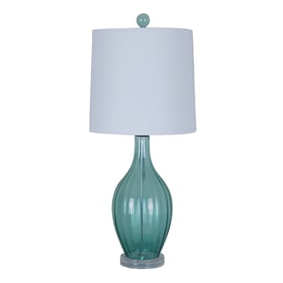 Illuminada 3-way Blue Glass Table Lamp with Ivory Hardback Shade
