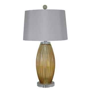 Illuminada 3-way Amber Glass Table Lamp with White Modified Drum Shade