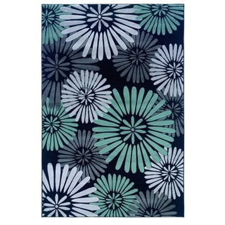 Milan Collection Black/ Turquoise Area Rug (1'10 x 2'10)