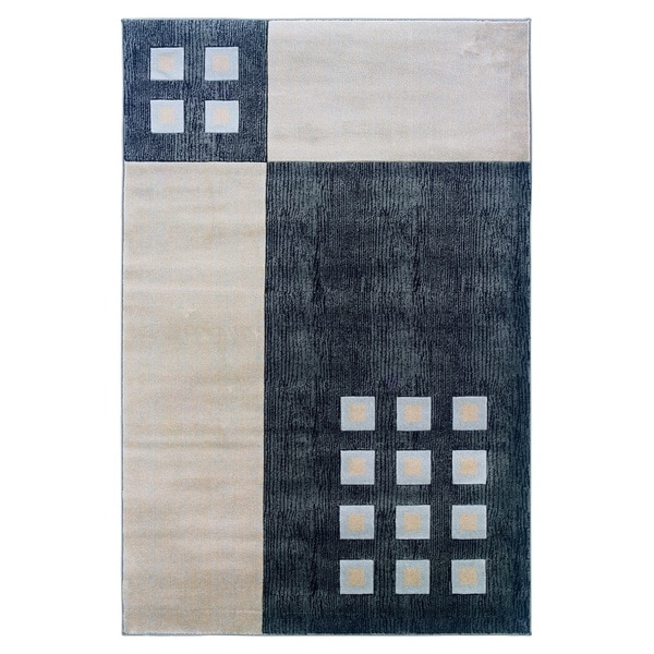 Linon Milan Collection Black/ Ivory Area Rug (1'10 x 2'10)