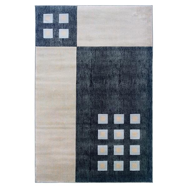 Linon Milan Collection Black/ Ivory Area Rug (1'10 x 2'10)