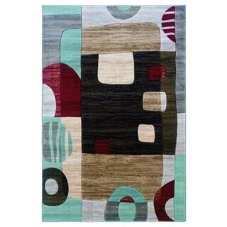 Milan Collection Black/ Garnet Area Rug (8' x 10'3)