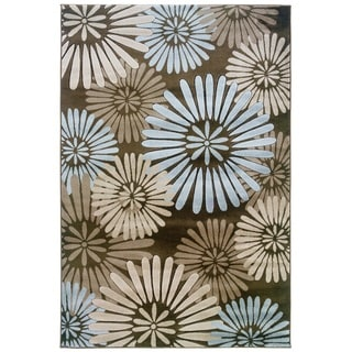Milan Collection Brown/ Blue Area Rug (8' x 10'3)