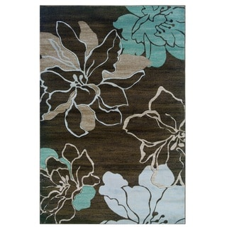 Milan Collection Ivory/ Turquoise Area Rug (8' x 10'3)