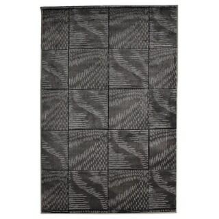 Milan Collection Black/ Grey Abstract Area Rug (5' x 7'7)