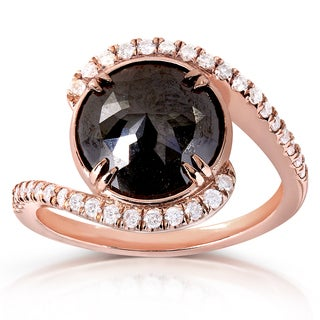 Annello 10k Rose Gold 3 7/8ct TDW Round Black and White Diamond Curved Ring (G-H, I1-I2)