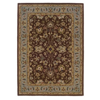 Trio Traditional Brown/ Light Blue Area Rug (8' x 10')
