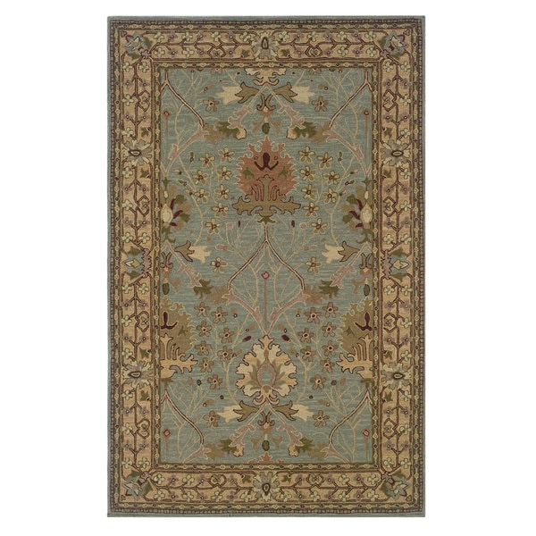 Linon Soumak Collection Ice Blue/ Pale Gold Area Rug (4' x 6')