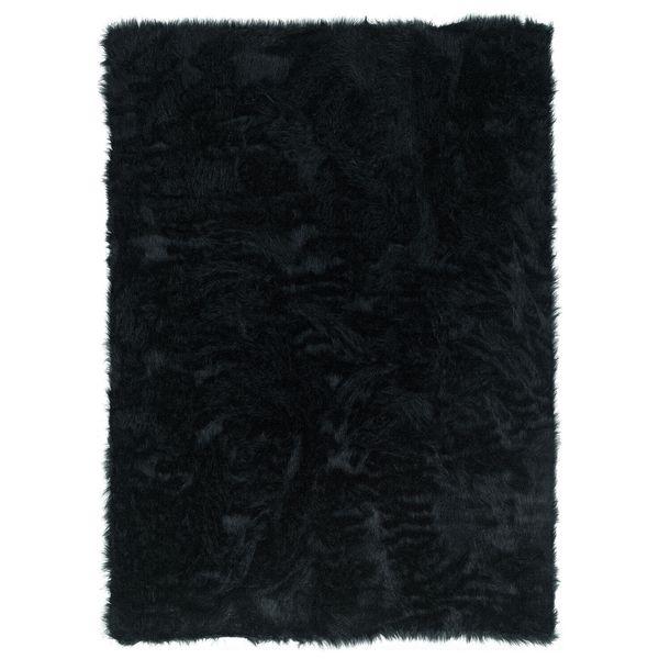 Linon Black Faux Sheepskin Rug (5' x 7')