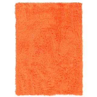 Linon Orange and Orange Faux Sheepskin Rug (3' x 5')