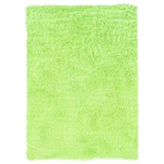 Linon Green and Green Faux Sheepskin Rug (5' x 7')