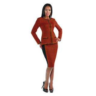 Women's 'Liorah' Orange and Black Checkered Two-piece Skirt Suit