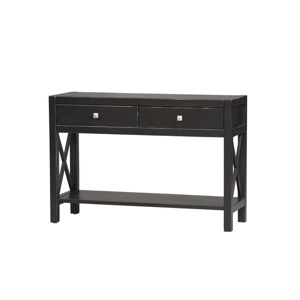 Linon Anna Collection Black Wood Console Table