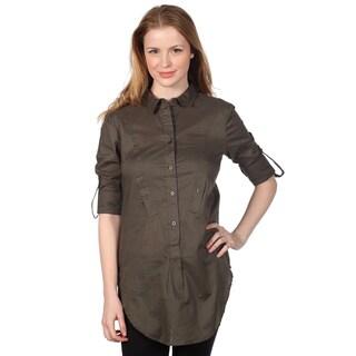 Cotton Express Juniors Olive Long Sleeve Button-up Shirt