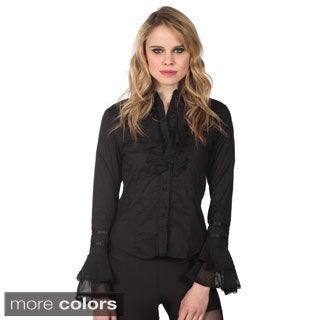 Cotton Express Women's Ruffled-sleeve Button-up Shirt