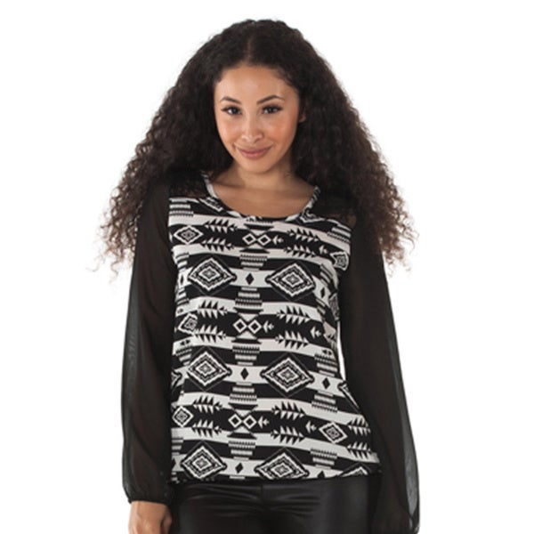 Women's Black/ White Ikat Print Chiffon Long Sleeve Top