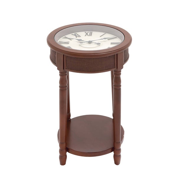 Casa Cortes Tuscany 26 Inch Round Clock Accent And End Table 16550393 Shopping