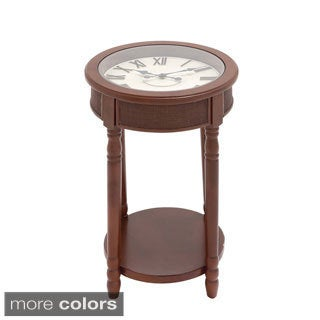 Casa cortes industrial metal round clock coffee table for Clock coffee table round