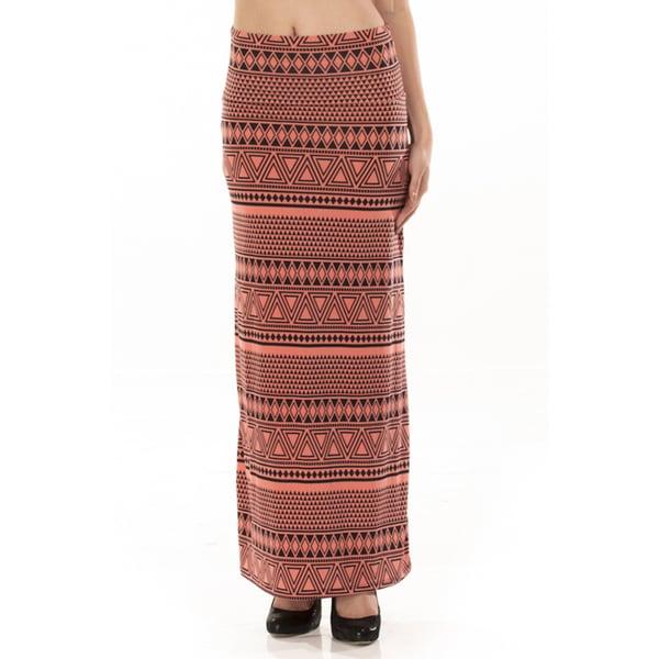 Women's Coral Ikat Print Maxi Skirt