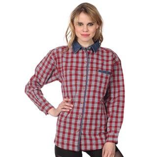 Leena Studio Juniors Plaid/ Denim Collar Button-up Shirt