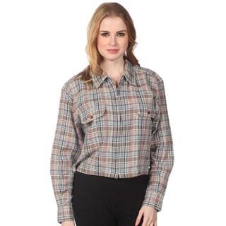 Cotton Express Juniors Plaid Zip-front Shirt