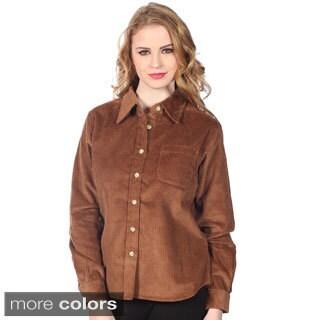 Cotton Express Juniors Corduroy Button-front Shirt