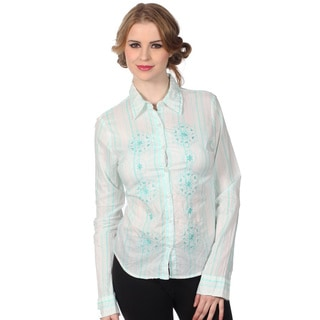 Cotton Express Juniors White and Blue Floral Embroidered Button-down Shirt