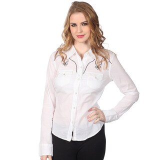 Cotton Express Junios Pearl White Snap-button Western Shirt