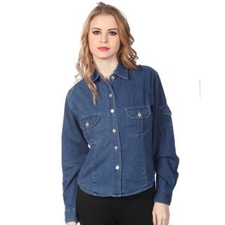 Cotton Express Juniors Blue Denim Double Pocket Shirt