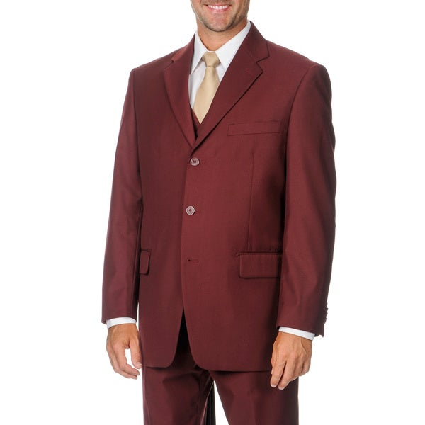 Giorgio Dante Men's Burgundy 3-piece Vested Suit
